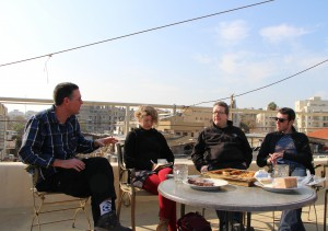 Meeting with Dr. Chen Yechezkeli on the roof terrace of the Old Jaffa Hostel in Tel Aviv. Photo: AKDLD