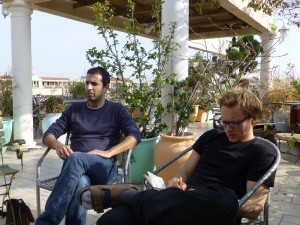 Meeting with Adi Sofer (left) on the roof terrace of the Old Jaffa Hostel in Tel Aviv. Photo: PS