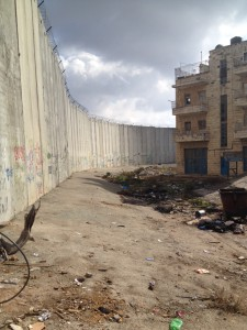 The wall separates Bir Nabala. Photo: DV